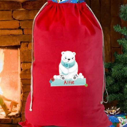 Polar Bear Personalised Red Christmas Sack